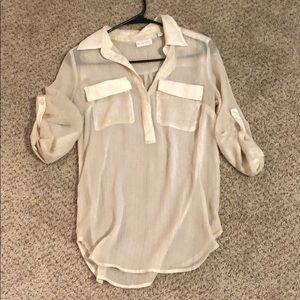 Shimmery work quarter sleeve shirt